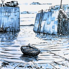 Mousehole Cornwall St Ives Rob MacGillivray ink water watercolour
