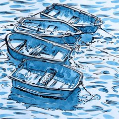 Jostling little boats Rob MacGillivray ink water watercolour